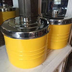 Pier 1 vintage yellow & silver canister set